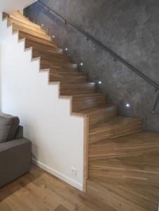 Souplex excavation maison agrandissement extension plancher de verre escalier béton bois architecte olivier olindo