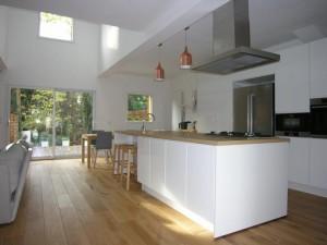 olivier olindo architecte architect architecture ooa maison bois structure enghien les bains cuisine ouverte double hauteur végétation baie vitrée