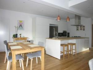 olivier olindo architecte architect architecture enghien les bains maison bois structure esapce salle à manger table cuisine ouverte luminaire double hauteur