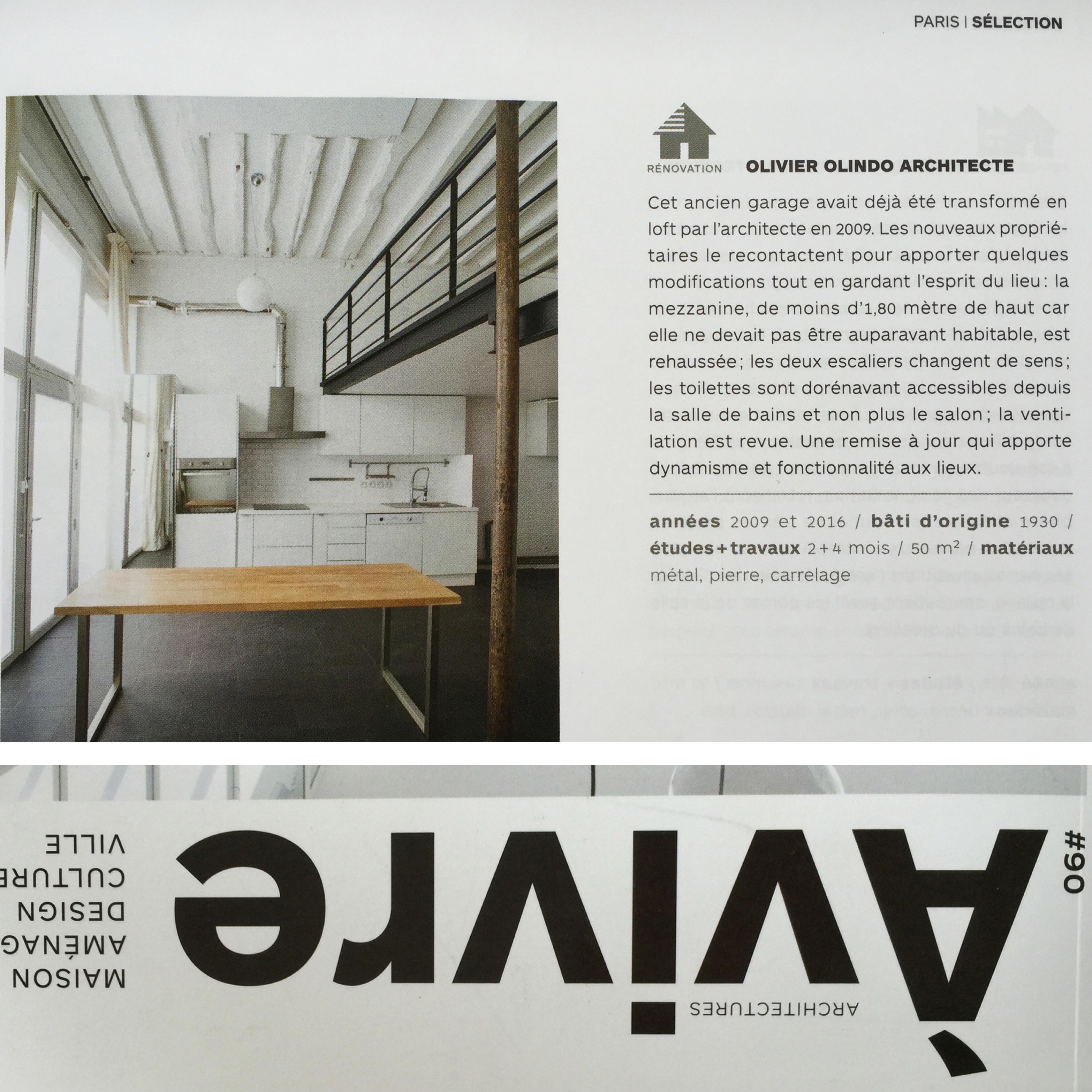 magazine architecture vivre n 90 2016 olivier. Black Bedroom Furniture Sets. Home Design Ideas